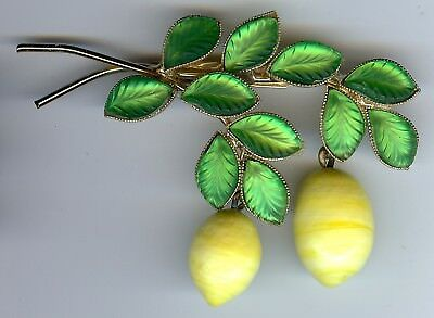 Vintage Frosted Green Glass Leaves & Dangle Lemons Pin