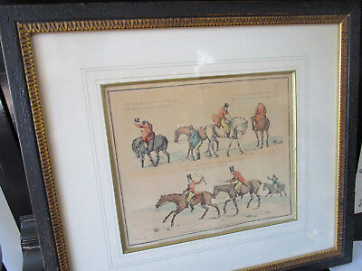 PAIR OF ANTIQUE PRINTS BY hENRY ALKEN ILLUSTRATIONS ENGLISH HUNTING SCENE