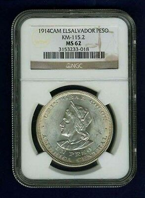 El Salvador Republic 1914 Peso Coin, Choice Uncirculated, Certified Ngc Ms62