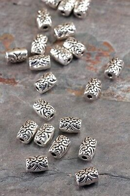 Lot of 10 Pcs Tibetan Silver 7.5mm x 5mm Scroll Barrel Tube Spacer Beads US Ship