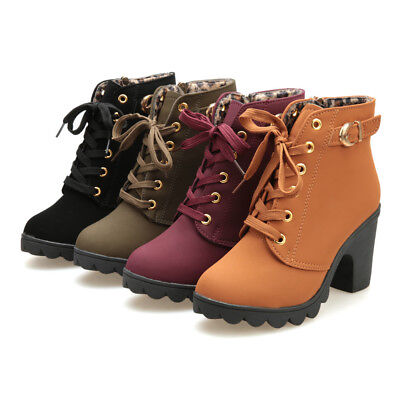 Casual Women Fashion High Heel Lace Up Ankle Boots Ladies Buckle Platform Shoes