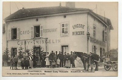CHANTEHEUX Meurthe et Moselle CPA 54 CAFE Cuny Thincelin MASSON attelage cheval