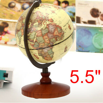 14cm Table Rotating Earth World Map Globe Geography Vintage Desk Home Decor Gift