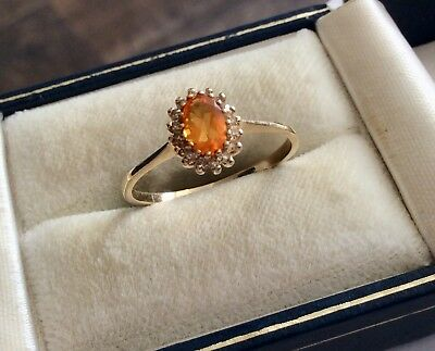 Beautiful Ladies Vintage 9 Carat Gold Yellow Tourmaline & Diamond Ring - Q