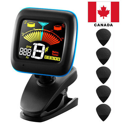 Black 2 in 1 Clip-on Tuner and Metronome for Chromatic, Guitar etc CANADA
