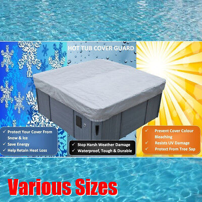 37 Sizes Square Hot Tub Spa Cover Cap Waterproof Protector Oxford Fabric Silver