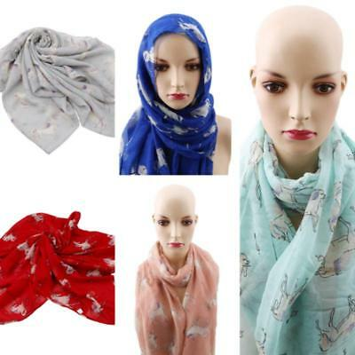 Women Unicorn Horse Animal Print Scarf Scarves Shawl Wrap Beach Cover Up 8C