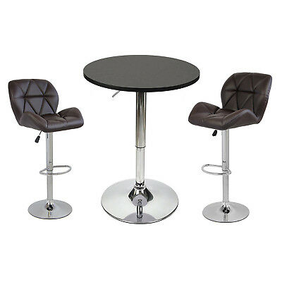 3 Piece Bar Table Set Pub Stools Counter Height Chairs Swivel Kitchen Furniture