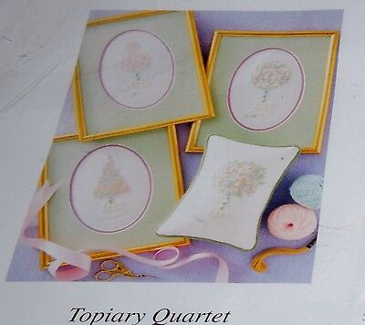 4 Topiary Trees Crewel Embroidery Panels Kit Printed Fabric Thread Cushions