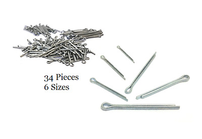 34 Piece Cotter Pin Split Pin Pins Assortment Assorted Fixing Set - 6 Sizes