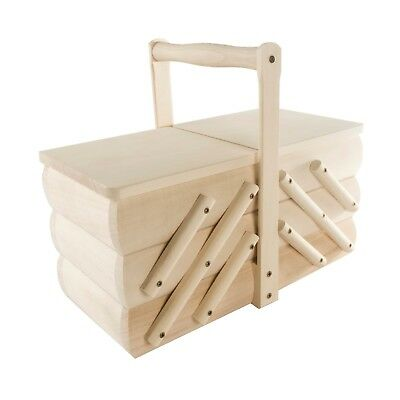Wooden Cantilever Sewing Box / Natural Mid Size Art Craft Screw Storage Basket