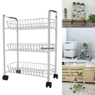 Delicieux Portable 3 Tier Wire Storage Basket Shelving Organizer Fruit Stand Kitchen  Rack