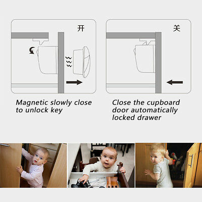 10X Magnetic Cabinet Drawer Cupboard Locks Safety Proofing for Baby Kids White