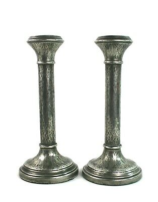 Early 20th C. Pewter Candlesticks Hammered Pair 21 cm