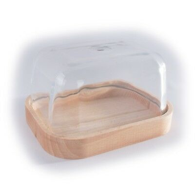 Wooden Glass Lid Covered Butter Dish Container Holder / Natural Curved Edge