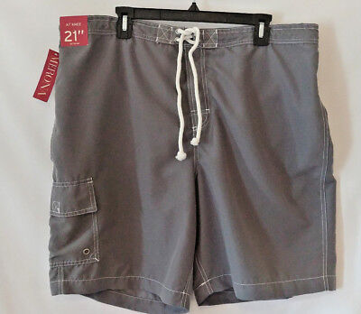 c3c0485e34 MERONA MEN'S SWIM Trunks Board Shorts Size XL Gray Knee Length New ...