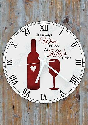 Personalised Wine O'Clock Glass Wall Clock - Birthday, Mother's Day Gift