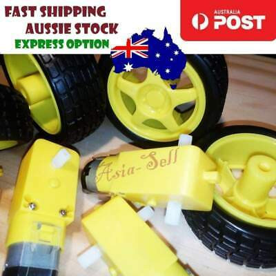 8pcs Smart Car Robot Plastic Tyre Tire Wheel DC Biaxial Geared Motor Arduino