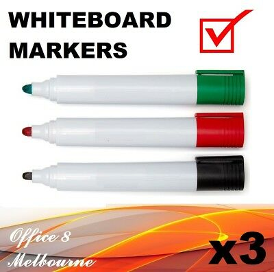 3 x Whiteboard Markers Red Black Green Dry Erase Perfect for Kids Teaching
