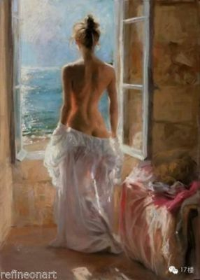 CHENPAT638 hand paint nude girl morning look at seascape oil painting art canvas
