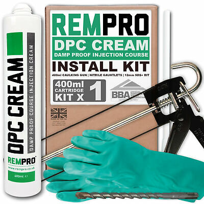 Rempro 1 x 400ml DPC Damp Proofing Injection Cream & Application Install Kit