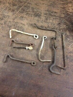 Lot Of 8 Gate Barn Door Latch Hooks Antique Vintage Hand Made Wrought Iron
