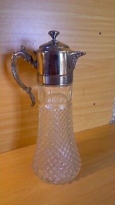 Antique hobnail cut glass & silver plate claret jug.
