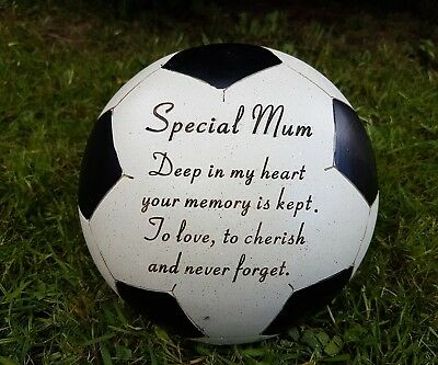 Mum Grave Memorial Ornament Remembrance Black Football  Plaque mum