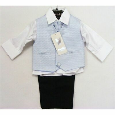 Baby boys Boy black blue suit waistcoat tie 6-9 months wedding christening Sale