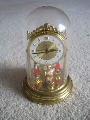 """Vintage West Germany Schmid Wind Up 6"""" Clock 4 Spinning Dancers, Working, No Tax"""
