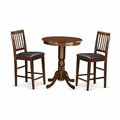 Pub Table Set-Pub Table And Dining Chairs Mahogany 3 Round