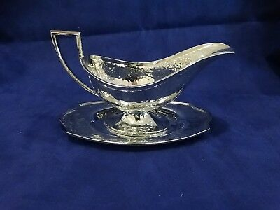 Antique Hand Hammered Silver Plated Gravy Boat & Plate Derby International