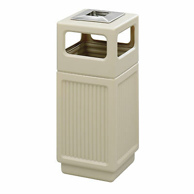 Canmeleon Indoor Outdoor Trash Can, Recessed Panel, Ash Urn, 38 Gallon Tan