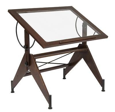 Aries Glass Top Drafting Table Dark