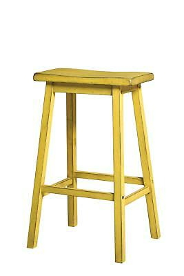 Acme Furniture Gaucho Bar Stool Set of 2 Antique Yellow Stools Home Garden