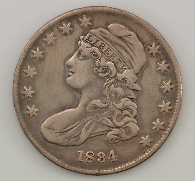 1834 Capped Bust *Small Date, Stars, Letters* Silver Half Dollar *Q67