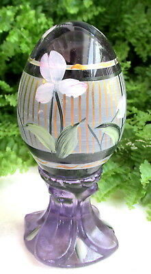 Lovely Signed & Numbered Hand Painted Fenton Amethyst Glass Egg ~ J Powell