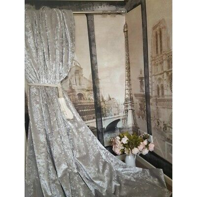 """Heavy Lined Curtains Huge Dove Grey Velvet Blackout Thermal 204"""" Wide 113"""" Long"""