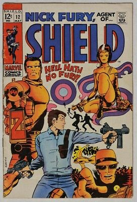 ESZ3736 NICK FURY, Agent of SHIELD #12 by Marvel 3.5 VG- 1969 BARRY SMITH Cover=