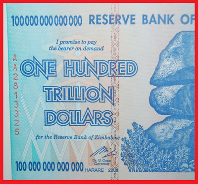 Zimbabwe 100 Trillion! Authentic! Uncirculated & Sequential! Over 50 In Stock!