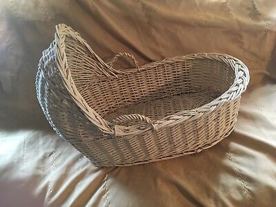 Wicker Moses Baby Canopy Basket Vintage