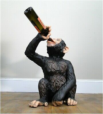 Drinking Monkey Statue Drunk Butler Wine Bottles Beer Ape Sculpture Biscaretti