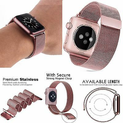 ROSE GOLD Milanese For Apple Watch 42mm Stainless Steel Band Magnetic Lock Strap