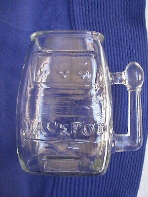 Clear Glass Jackpot Slot Machine Shape Beer Mug Coffee Tea Cup 1 Arm Bandit VTG