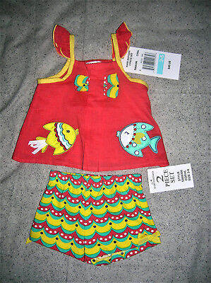 ❤Retail $40❤Nwt❤Rare Edition❤2 Piece Baby Outfit❤Coral-Yellow-Aqua❤3-6M❤Nautical