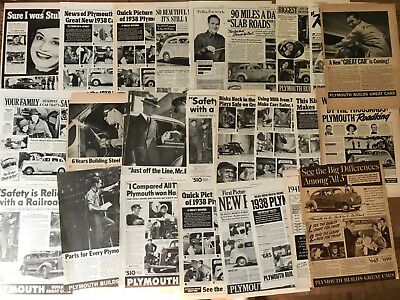 V 1937 and more Plymouth Car Ads lot of 25
