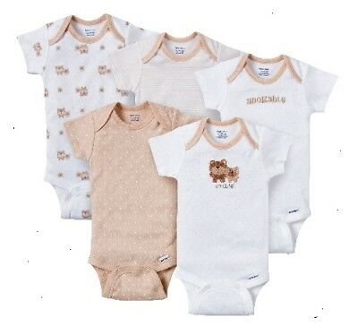 Gerber Baby Neutral 5-Piece Tan Bears Onesies Size 3-6M Baby Clothes Shower Gift
