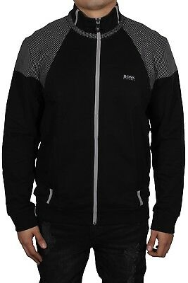 bde3b835444 Hugo Boss Men s Skaz 1 Zip Up Basic Long Sleeve Track Jacket Black 50372447  NWT
