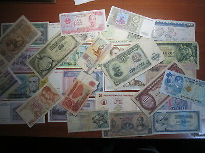 Mixed World bank Notes Total 30 Almost Uncirculated To Circulated Bulk Lot