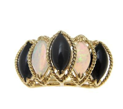Genuine Natural Marquise Black Coral Australian Opal Ring Solid 14K Yellow Gold
